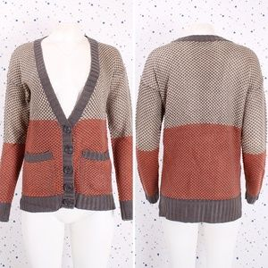 Long Sleeve V-neck Color Block Cardigan Sweater